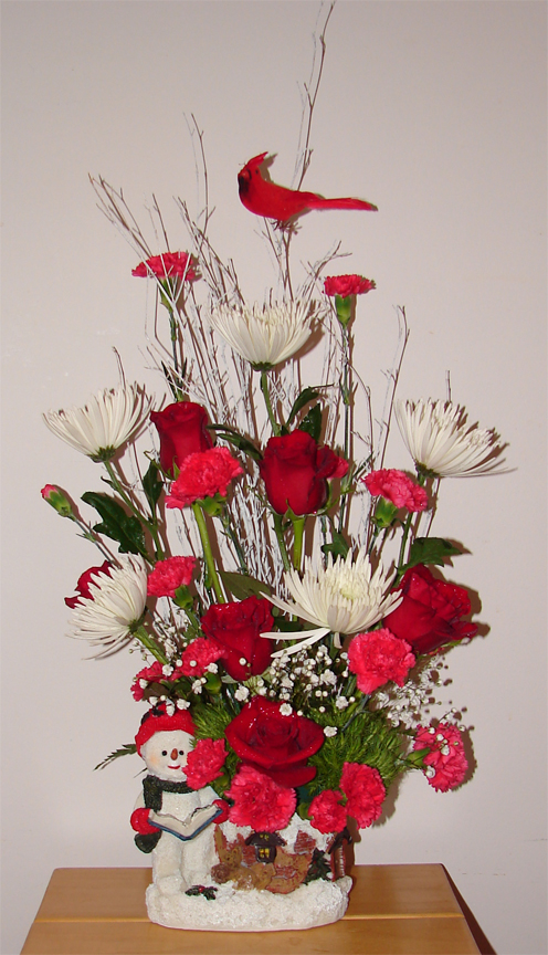 Tall red and white Christmas arrangement