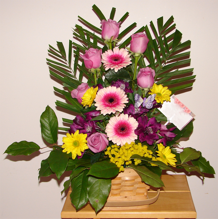Large colourful arrangement in a basket