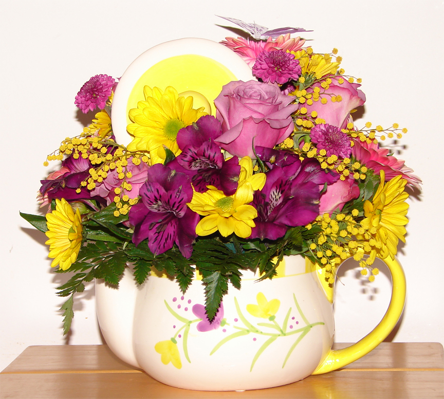 Large teapot with flowers