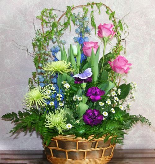 Flower arrangement in a basket