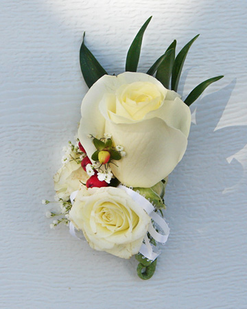 Candice's white rose corsage