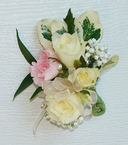 Mother's corsage with white and pink roses