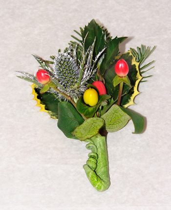 Christmas Holly Boutonniere