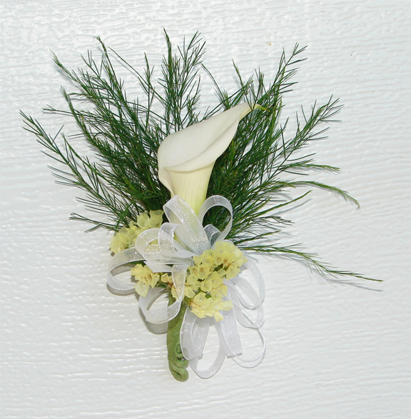 Calla Lily Corsage for Katherine's wedding