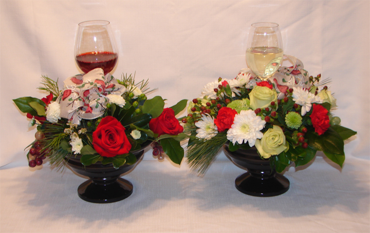 Wine glasses in centrepieces
