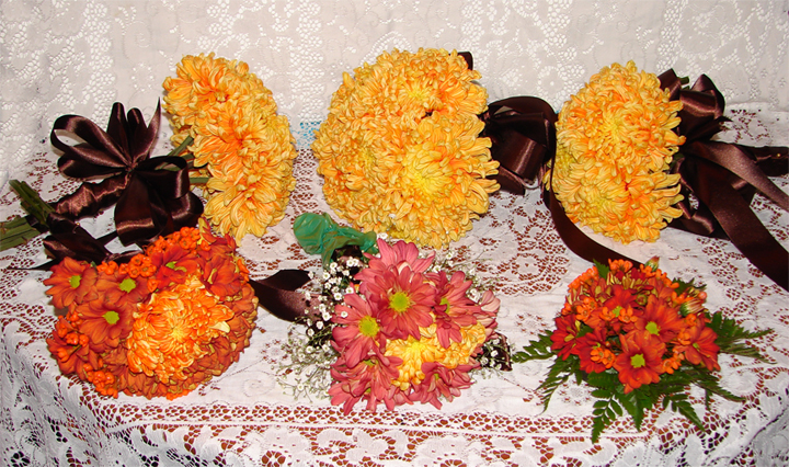 Bridal Set with orange and yellow flowers