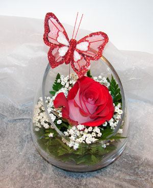 Valentines in a glass vase