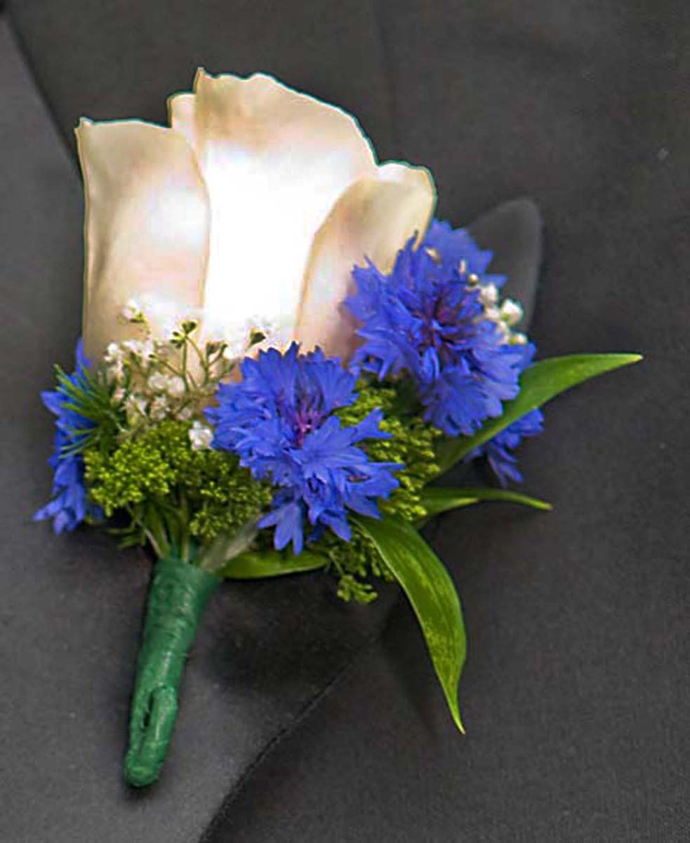 White and Blue Boutonniere